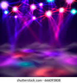 Dance floor banner, Light and smoke on stage. Vector illustration