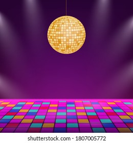 Dance floor. Night disco party. Retro vintage neon grid dance floor. Vector stock illustration