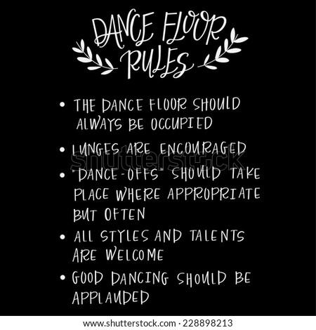 Dance Floor Rules Wedding Sign Stock Vector Royalty Free 228898213