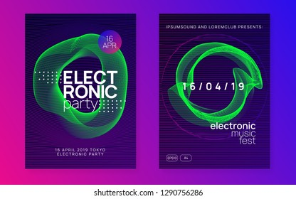 Dance flyer. Futuristic concert cover set. Dynamic gradient shape and line. Neon dance flyer. Electro trance music. Techno dj party. Electronic sound event. Club fest poster.