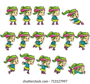 Dance girl game sprites for side scrolling action adventure endless runner 2D mobile game.