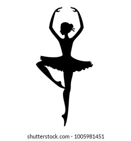 Dance girl silhouette isolated on white background. Ballerina. Ballet banner. Vector.