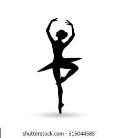 Dance girl silhouette isolated on white background. Ballerina. Ballet banner. Vector illustration. Ballet dancer, princess, ballerina silhouette, ballerina girl, ballerina isolated, ballerina vector