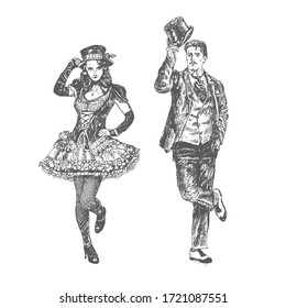 Dance greeting of man and woman. Art Deco and Nouveau Lady and gentleman takes off their top hats.Vector illustration, vintage engraved style