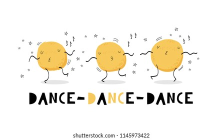 Dance, dance, dance. Hand drawn graphic for typography poster, card, label, brochure, flyer, page, banner, party.  Vector illustration in yellow and black