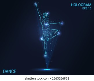 Dance hologram. Holographic projection of a ballerina. Flickering energy flux of particles. The scientific design of the dance girls