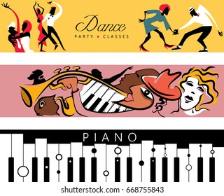 Dance + Jazz + Piano Concert Poster Collection (Vector Art)