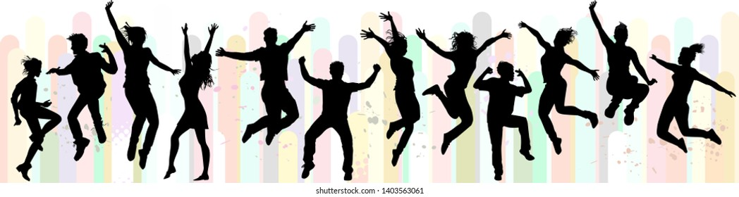 Dance and jumping. People in action