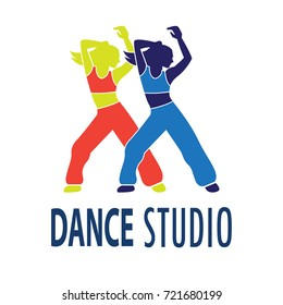 dance logo for dance school, dance studio. vector illustration