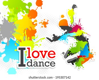 Dance man with colorful spots and stains. Vector background for dance and musical illustrations: postcards, posters and banners