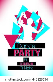 Dance Music Party Background with Colorful Graphic Elements - Vector Illustration