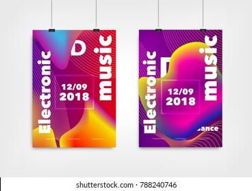 Dance and Music Party Posters and Flyers. Vector illustration