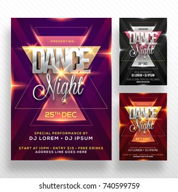 Dance Night Flyer, Music Party Poster presentation in three different colors. Cretive abstract background with glowing lens flare effect.