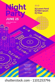 Dance night party poster with Dj console. 80s disco show flyer template. Vector illustration