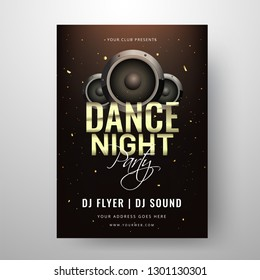 Dance Night Party template or clud invitation card design with speakers illustration.