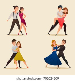 Dance pairs 4 retro cartoon icons set with waltz tango and salsa styles moves isolated vector illustration