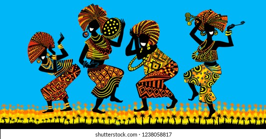 Dance of the Papuans. Dancing African people. Silhouettes of African women and men with musical instruments.