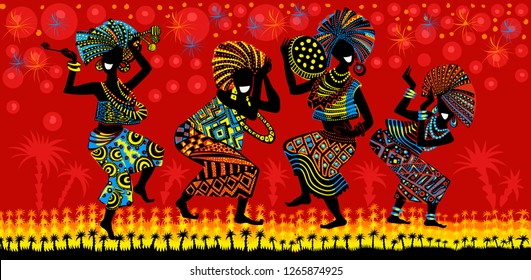 Dance of the Papuans. Dancing African people. Silhouettes of African women and men with musical instruments. - Векторная графика