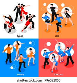 Dance with partner design concept with isometric people during salsa, jive, rumba, cha-cha isolated vector illustration