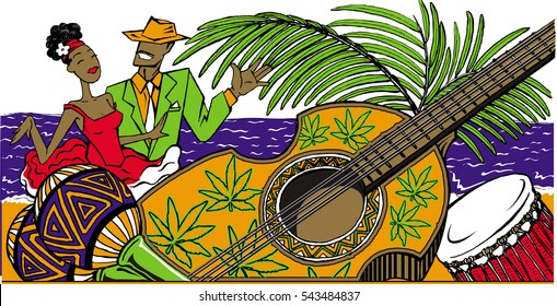 Dance party with cartoon cuban couple dancing salsa on the beach, with maracas, cuban guitar and drum. .