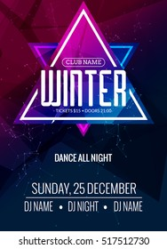 Dance party, dj battle poster design. Winter disco party. Music event flyer or banner illustration template.