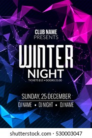 Dance party, dj battle poster design. Winter cold ice disco party. Music event flyer or banner decoration illustration template