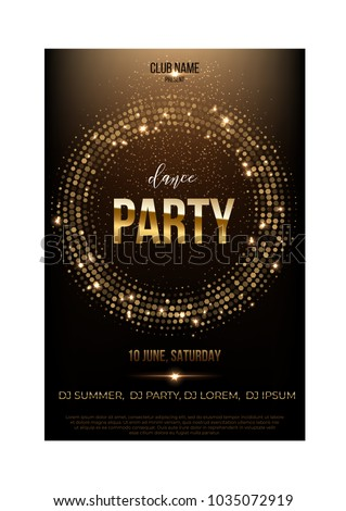 Dance Party Flyer Template Golden Words Stock Vector Royalty Free