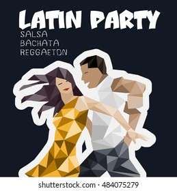 Dance party illustration with dancing cuban couple