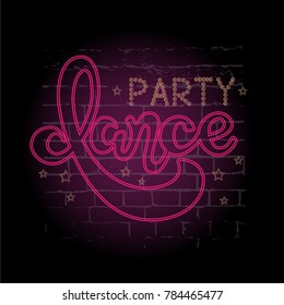 Dance party - Lettering on background, Hand sketched greeting card Dance party. Hand drawn Dance party  lettering sign. Invitation, banner, postcard. Dance party Vector illustration