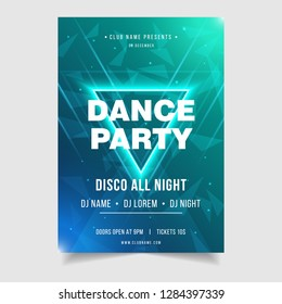 Dance Party Music Festival Poster Template. Electro style night club disco party event flyer invitation