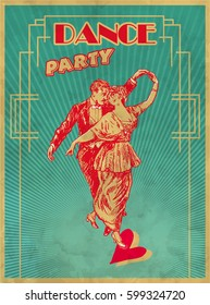 Dance Party Poster Design Template. Retro dance Typography flyer invitation vector illustration. Art Deco Epoch 1920's 1930's and 1940's Style