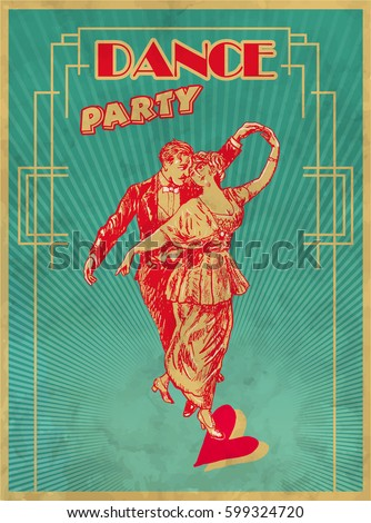 dance party poster design template retro stock vector royalty free