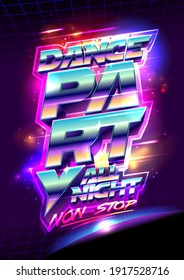 Dance party poster template, 3D lettering cosmic style vector illustration