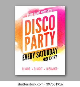 Dance Party Poster Template. Night Dance Party flyer.  Club party design template on dark colorful background. Dance party watercolor background