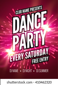 Dance Party Poster Template. Night Dance Party flyer. design template on dark colorful background.