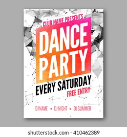 Dance Party Poster Template. Night Dance Party flyer. DJ session. design template on colorful background.