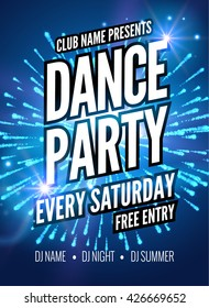 Dance Party Poster Template. Night Dance Party flyer. DJ design template on dark colorful background.