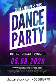 Dance Party Poster Template. Night Dance Party flyer. Club party design template on dark colorful background. DJ promotion