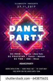 Dance party poster vector background template with triangles and circles particles, lines, highlight and modern geometric shapes in pink and blue colors. Music event flyer or banner abstract