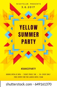 Dance party poster vector background template with 3d geometric shape similar to a butterfly in yellow, red and blue colors. Music event flyer or banner abstract background