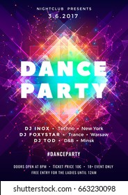 Dance party poster vector background template with particles, plexus lines, highlight and modern geometric shapes in pink and blue colors. Music event flyer or banner abstract