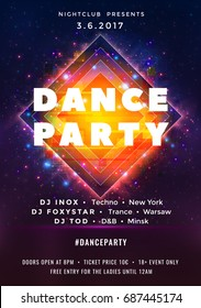 Dance party poster vector background template with particles, stars, lines, highlight and modern geometric shapes. Music event flyer or banner abstract. Poster in the style of posters of retrofuturism