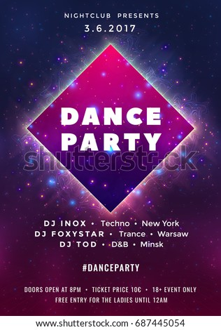 dance party poster vector background template のベクター画像素材