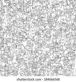 Dance party seamless pattern with doodled youngsters having fun in black and white. Illustration is in eps8 vector mode, background on separate layer.