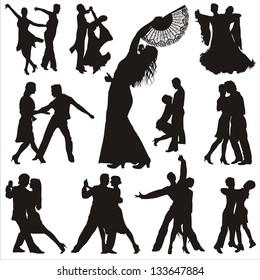 Dance people silhouettes