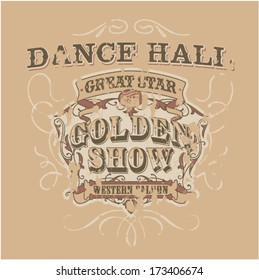 Dance saloon - vector artwork for girls and women wear in custom colors, grunge effect in separate layer.