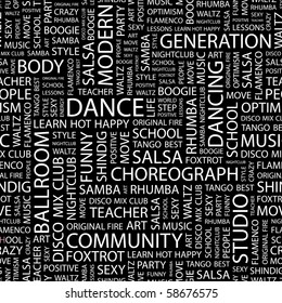 DANCE. Seamless vector pattern with word cloud. Illustration with different association terms.