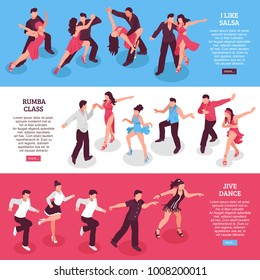 Dance set of horizontal isometric banners with rumba class, people during salsa, jive isolated vector illustration
