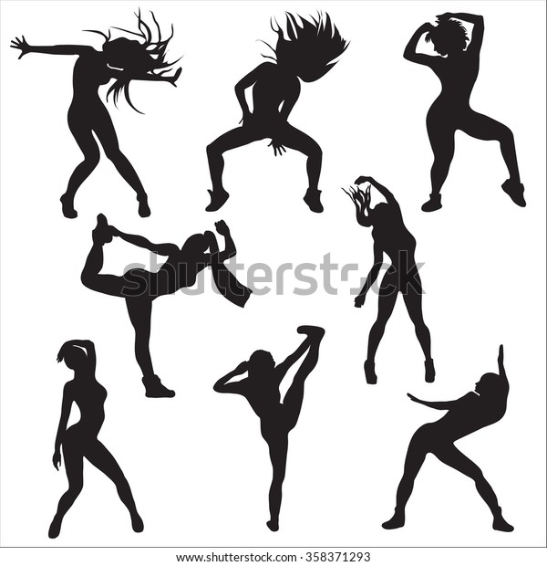 Dance Set Jazz Funk Black Stock Vector (Royalty Free) 358371293
