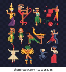 Dance and sport. People from different countries dancing national dances pixel art character, Brazilian dancer, tango and сaucasus dance man, capoeira vector illustration. Design stickers, app, logo.